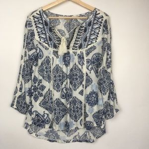 Lucky Brand pattern embroidered tassel top